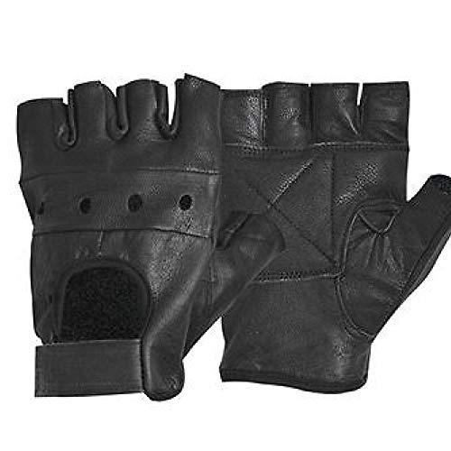 anruo Heren & # 39s PU-leren handschoenen Vingerloze vingerloze handschoenenfiets anti-slip fitness workout gymhandschoenen leren handschoenen