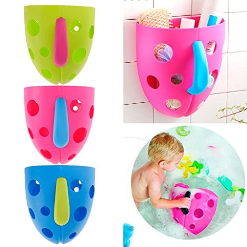 WSKL plástico bebé baño Juguetes de baño Ventosa Organizador de Almacenamiento Tiempo de baño Jugar diversión Cesta Azul