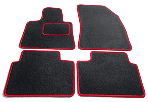 JediMats 23300Korfu–Felpudo (a Medida para su Coche, Negro/Rojo