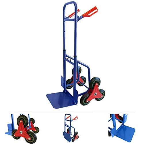 Grafner Treppensteiger Sackkarre klappbar, Belastbarkeit 200kg, sternförmige Räder, solide Stahl-Ausführung, Treppen Sackkare Bordstein Umzug