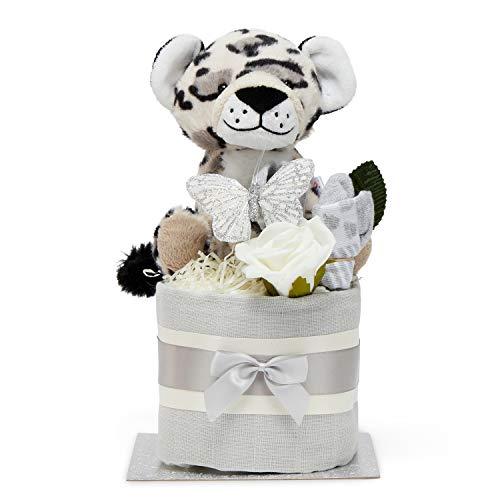 Pannolino torta Unisex Baby Gift – Piazza Mussola avvolge 9 Nappies, Baby Socks e Soft Toy Snow Leopard