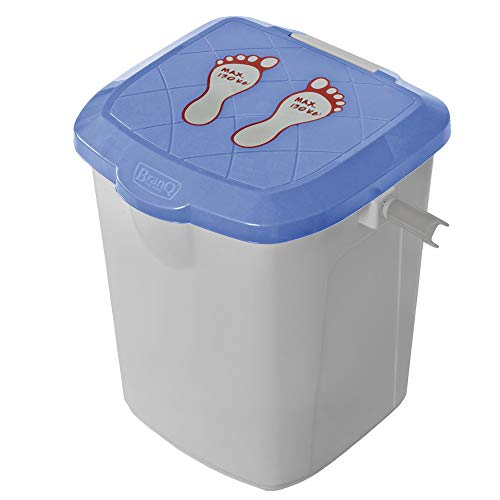 BranQ - Home essential Sitzbox/Hocker und Eimer, Anglersitz, Handwerkersitz 22l, Kunststoff PP, Blau/Grau, 31x31x28 cm (LxBxH)