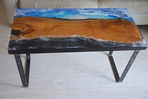Mesa de café de madera y resina epoxi mesa de salón efecto de mar natural mesa de cocina diseño rústico muebles de tienda modernos