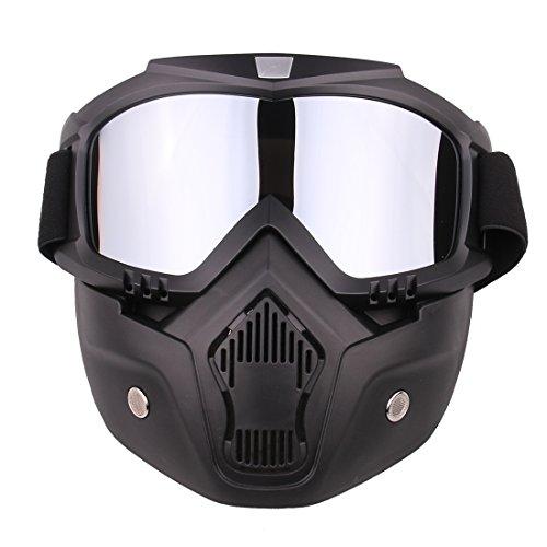 Foxom Máscara Táctica, Máscara Táctica Protectora para Airsoft o Paintball, Máscara Negra De Cara Completa con Desmontable Gafas para Nerf CS