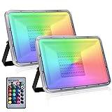 2 Pack 100W Foco Led RGB Con Función de Memoria, Impermeable IP67 Proyector LED Exteriores con Control Remoto, 16 Colores y 4 Modos Foco Exteriores RGB para Jardín,Terraza, Partido,Navidad