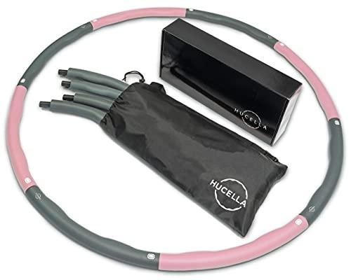 HUCELLA   Hula Hoop Reifen Erwachsene   Inkl. Tasche 1,2kg   Hula-Hoop-Reifen   Anfänger & Fortgeschrittene   Hullahub Reifen zum abnehmen   Fitness Zuhause (Rosa/Grau)