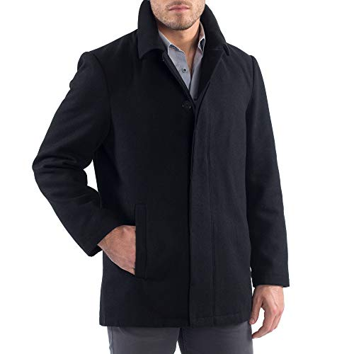 Alpine Swiss Vance Mens Wool Blend Button Up Coat Black Large