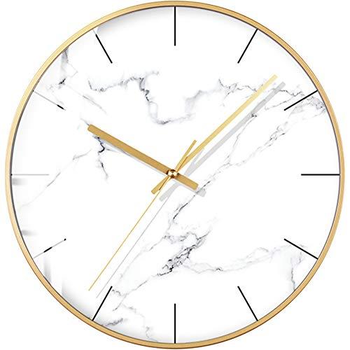 HSGZ Nordische Marmor-textur Wanduhr,Home Moderne Uhr,Persönlichkeit Kreativ Wohnzimmer Schlafzimmer Mode Mute Uhr-A 14Zoll