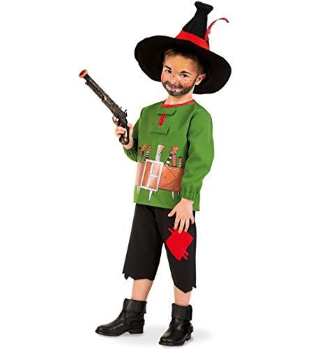 KarnevalsTeufel Kinderkostüm-Set Räuber Hotzenplotz Oberteil und Hose mit Hut und Pistole Verkleidung (116)