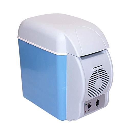 WANNA.U Mini frigorífico portátil, 7,5 l, para el Coche, para Uso en casa, 12 V/220 V, Doble Voltaje, refrigerador y Caja de Calor, 6 l, residencia Estudiante, frigorífico, congelador, Azul, 12V/220V