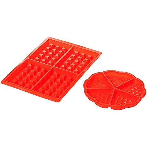 Amazon Basics - Juego de moldes de silicona para gofres, diseño rectangular y redondo