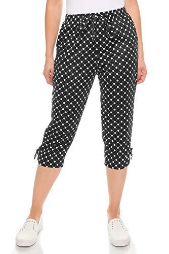 Kendindza - Pantalones pirata de verano para mujer, 3/4, colores lisos, Puntos grandes de color negro., XXXL
