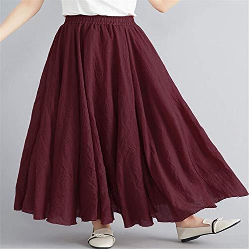 Vestido Floral De VeranoCintura Suelta Ocasional Larga Mujer Columpio Color Sólido Falda Elástica (Size:M; Color:Wine Red)