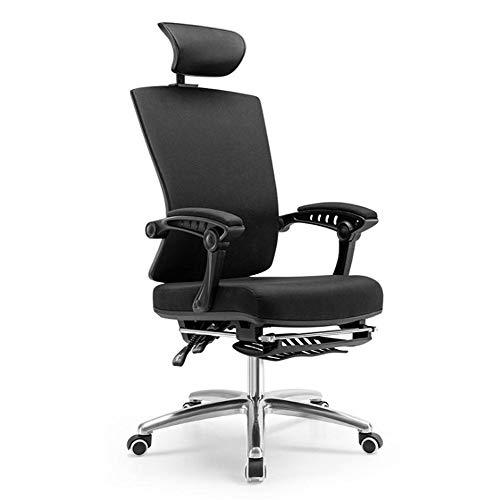 WangXL Ergonomische bureaustoel, bureaustoel met hoge rugleuning en lendensteun, zitting met verstelbare zitting, kantelbaar en voetensteun