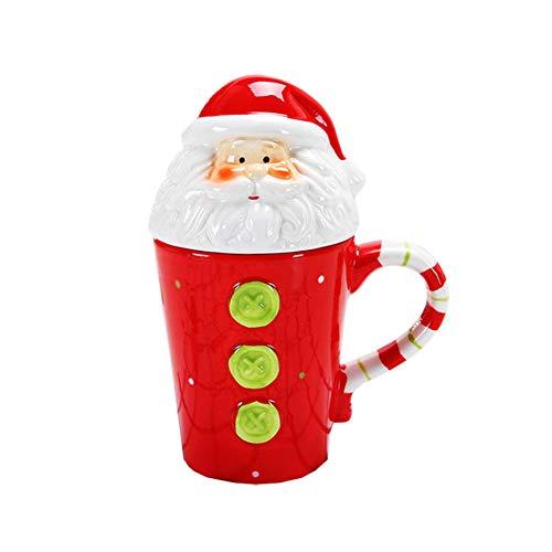 Tazze natalizie 3D con alcia/pupazzo di neve/pinguino/Babbo Natale/Babbo Natale/coperchio/tazza da caffè/latte/tè thermos bottiglia d'acqua regalo di Natale 14 Oz Santa Claus
