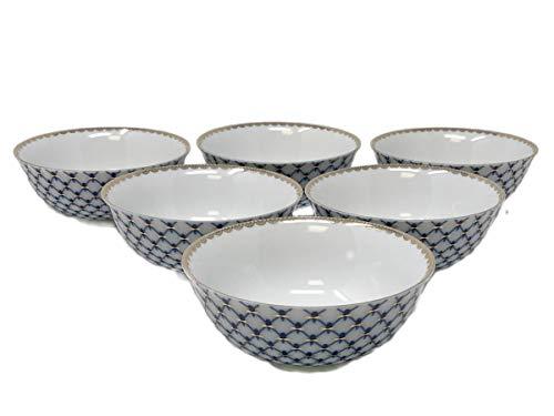 Cobalt Blue Net Tea Piala Cups, SET of 6, Capacity 7 Oz, Russian Lomonosov Design Saint Petersburg