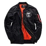 HSART Chaqueta Bomber Mujer,Cazadora Moto Jacket Mujer,Casual Uniforme Beisbol con Cremallera,Negro,XXXXL