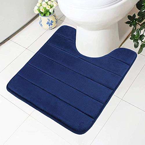 Homaxy Memory Foam rutschfeste Weiches Vorleger Toilette mit Ausschnitt 50 x 60 cm, Saugfähig Badematte Stand WC, Waschbar Badteppiche für WC, Marineblau