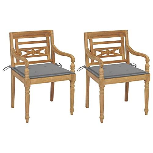 Tidyard 2X Teak Massiv Batavia Stuhl mit Grauen Kissen Gartenstühle Gartenstuhl Gartensessel Stühle Gartenmöbel Sessel Essstuhl Terrasse Garten 55 x 51,5 x 84 cm