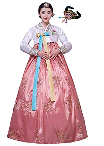 CRB Fashion Womens Korean Traditional Hanbok Top Dress Costume with Headpiece Set Outfit (Extra Small, Pink)