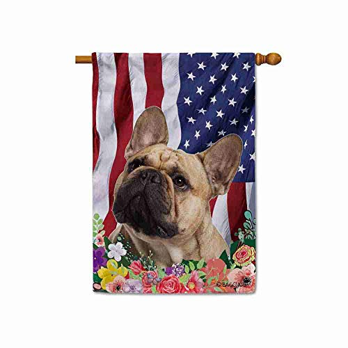 BAGEYOU American Flag with My Love Dog French Bulldog 4th of July Patriotic Decoraive House Flag for Outside Colorful Flowers Summer Home Decor Banner 28x40 Inch Printed Double Sided
