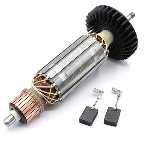 Rotor Anker Läufer Motor + Kohlebürsten inkl. Lüfter passend für Makita 9558PB / 9558NB / 9556NB / 9557HN / 9557NB / 9558HN