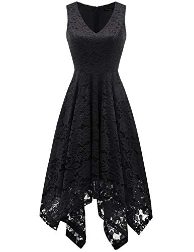 Meetjen Damen Festliche V-Ausschnitt Cocktailkleid Elegante Abendkleid A-Linie Kleid mit Spitze Hochzeit Gast Brautjungfernkleid Schwarz Black XS