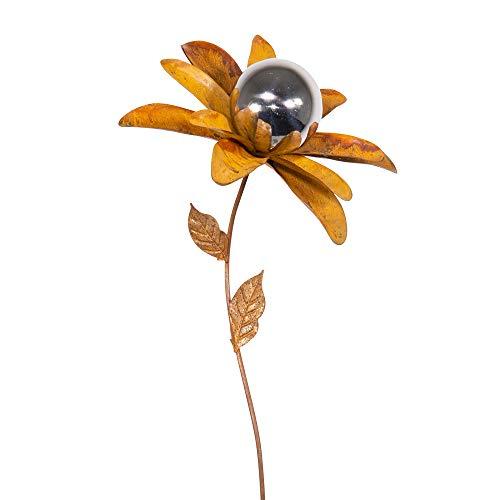 CIM Rost Gartenstecker Gartendeko - Edelrostblume Mirror Margarite S - Abmessung: 23x23x94cm - oxidierter Stahl, polierte Edelstahlkugel - inkl. 2-zackiger Bodenverankerung