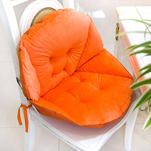 GJBHD Plush Thicken Chair Pads Cushion Non Slip Seat Pads Lumbar Overstuffed with Ties Best Cushion for Home Office Chair-Orange 55x45cm(22x18inch)