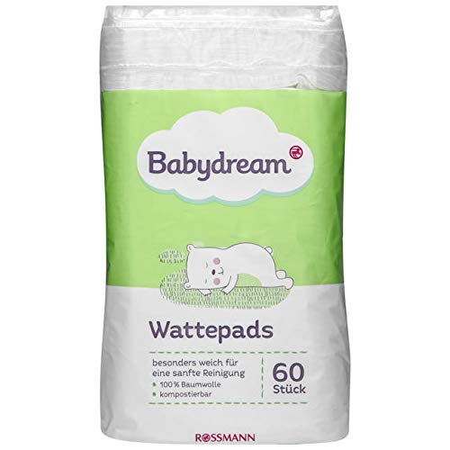 Babydream Wattepads 60 Stück besonders weich für eine sanfte Reinigung, 100% Baumwolle, kompostierbar