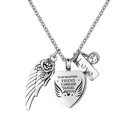 LuxglitterLin Heart Cremation Jewelry for Ashes Urn Pendant Necklace to My Beautiful Wife Daughter Gramdma