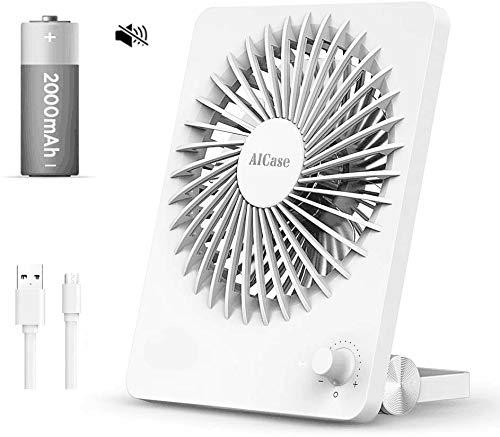 AICase leiser Tischventilator mit 160° Rotation,2000mAh wiederaufladbar Tischventilator mit Stufenloser Drehzahlregler,5W-weiß