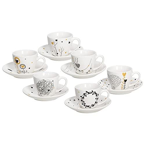 Tognana IR685345563 - Juego de 6 tazas de café con plato (porcelana)
