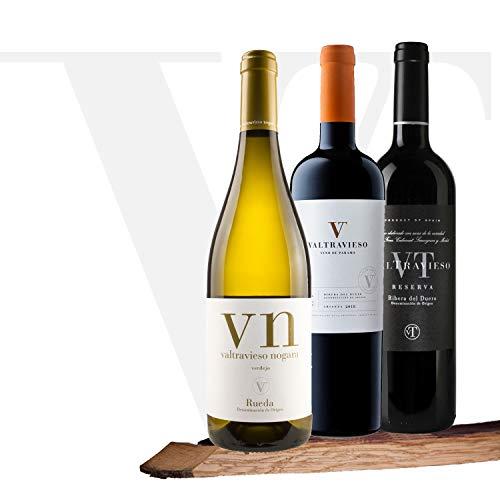 Caja Vino Valtravieso Ribera del Duero | Nogara Verdejo 100% Rueda + VT Crianza Tinto Fino + Vino Reserva Tinto Fino 80%, Cabernet Sauvignon 10% y Merlot 10% - Pack Regalo 3 Botellasx750 ml