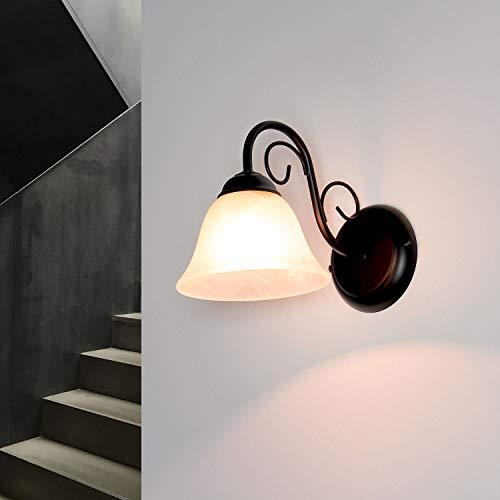 Landhaus Wandleuchte matt Schwarz E14 Fassung Stil Antik rustikal Wandlampe Innen