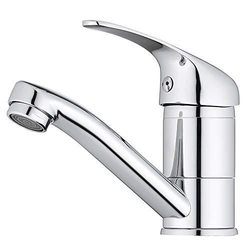 ONECE 360° Schwenkbar Wasserhahn Bad Waschtischarmatur Kleine Badarmatur aus Messing Waschbeckenarmatur Armatur Waschbecken Einhebelmischer, Chrom