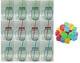 ML Pack de 12 Vasos con Tapa, asa y Pajita Vasos de Cristal con Pajita para Beber cóctel de Verano de Cristal 500ml y de Regalo 24 Cubitos Hielo