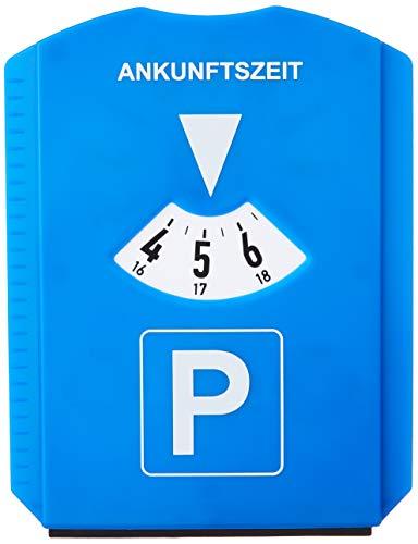 Relaxdays Parkscheibe 10er Pack, Eiskratzer, 3 Einkaufswagenchips, Gummilippe, Parkuhr Auto, StVO, Kunststoff, blau