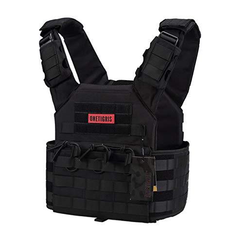 OneTigris PLPC Plate Carrier Advanced Version 500D Nylon MOLLE Tactical Vest for Paintball Airsoft Wargame CS Outdoor (Black)