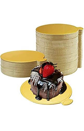 TS Traders (Novacart) 50 pcs Gold Printed Mini Single Round Cake Boards Paper Cupcake Circle Base Dessert Displays Tray for Wedding Cake Pastry, 3.5 inch