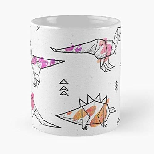 Craft Paper Dino Arrow Geométrico Dinosaurs Triangels Origami Eat Food Bite John Best Taza de café de cerámica de 325 ml
