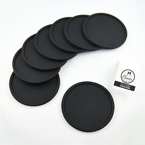Coastee Silikon-Untersetzer - 8 Stück, schwarz, Glasuntersetzer-Set für Bar, Wohnzimmer, Küche
