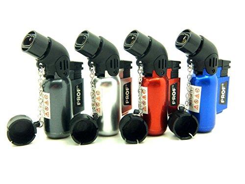 Prof Feuerzeug mit zwei Flammen, abgewinkelter Hals, Lötlampe, winddicht, elektronisch, nachfüllbar, Jet-Feuerzeug, Gas-Turbo, Schwarz, Rot, Silber, Blau