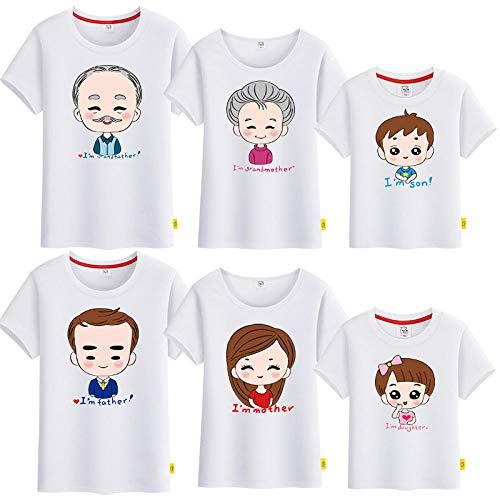 Suter,Ao Nuevo Ropa para Padres e Hijos Ropa de Verano Abuelo y Abuela Retrato Familiar Camiseta de algodn Puro de Manga Corta-Blanco_Chico 100