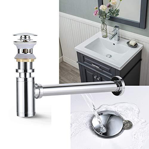 BONADE Set Siphon + Pop Up Ablaufventil mit Überlauf Waschbecken Ablauf Ablaufgarnitur Push-Up Abfluss Ventil für Waschbecken Waschtisch Chrom