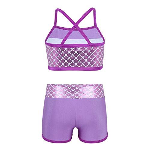 Nimiya Kids Girls Gymnastics Dance Sports Outfits 2PCS Mermaid Tankini Crop Tops Bra with Shorts Leotard Dancewear Swimsuit Lavender 6