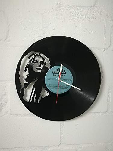 Wanduhr aus Vinyl Schallplattenuhr mit Robert Plant Led Zeppelinn Motiv upcycling design Uhr Wand-deko vintage-Uhr Wand-Dekoration retro-Uhr
