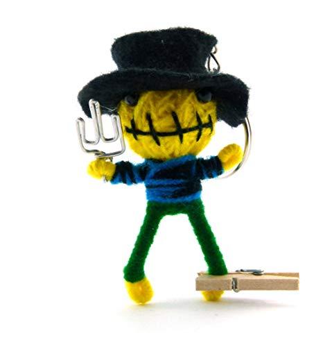 Freddy O. - Voodoo-Puppe Schlüsselanhänger als Seelentröster und Glücksbringer Anhänger für Taschen Handy Autorückspiegel – Sorgenpüppchen Handgemacht aus Wolle und Stoff