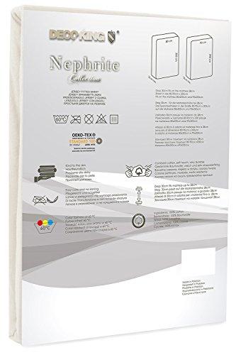 DecoKing 18521 80×200-90×200 cm Spannbettlaken Creme 100% Baumwolle Jersey Boxspringbett Spannbetttuch Bettlaken Betttuch Cream Nephrite Collection - 3