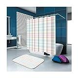 KnSam Duschvorhänge Aus Polyester Duschvorhang Und Bodenmatte Set Gitter Duschvorhang Breit: 150Cm Höhe: 180Cm Pink Blau